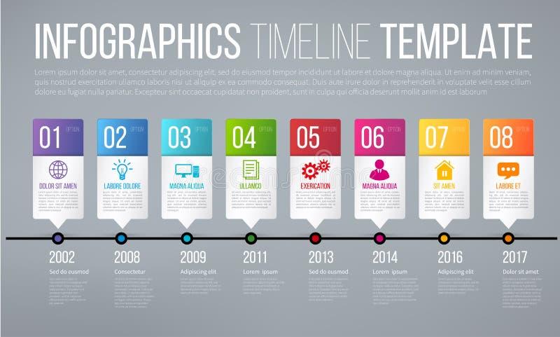 Zeitachse oder Wahlen infographics Schablone mit 8 Schritten stock abbildung