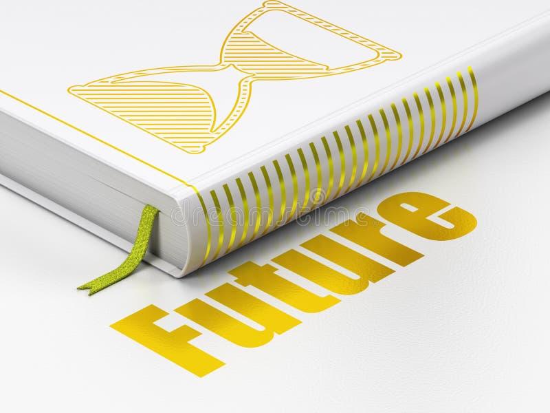 Zeitachsekonzept: Buch Sanduhr, Zukunft auf weißem Hintergrund stock abbildung