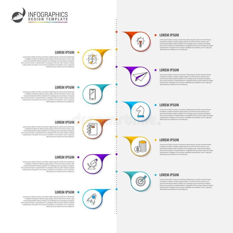 Zeitachsekonzept Infographic-Designschablone mit 10 Schritten vektor abbildung