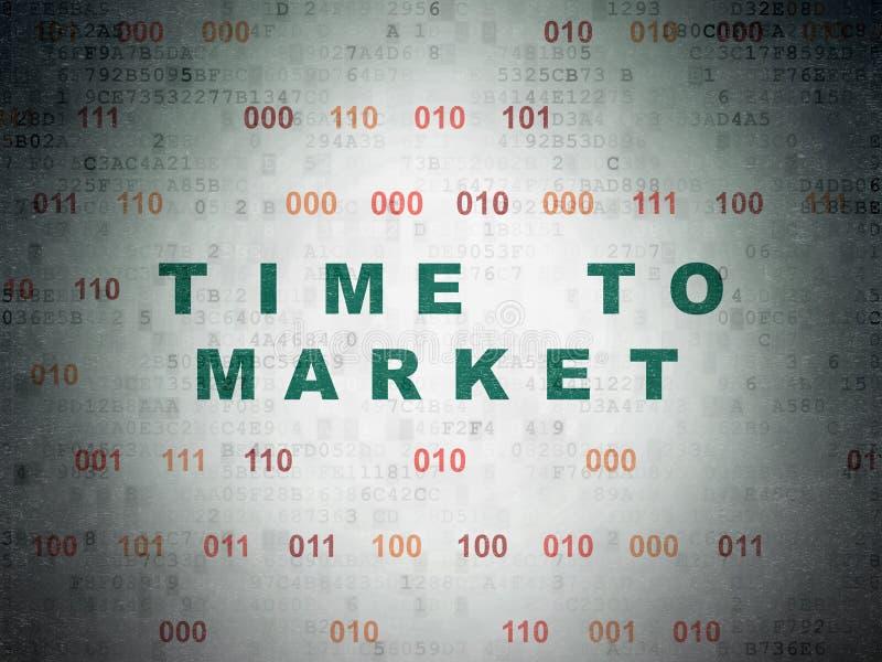 Zeitachsekonzept: Zeit zum Markt auf Digital-Daten tapezieren Hintergrund lizenzfreie abbildung