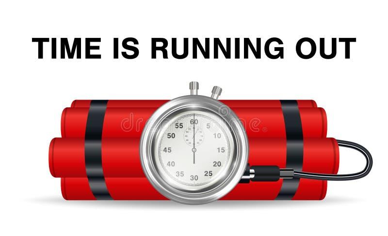 Zeitbombe mit rotem Dynamit und Stoppuhr stock abbildung