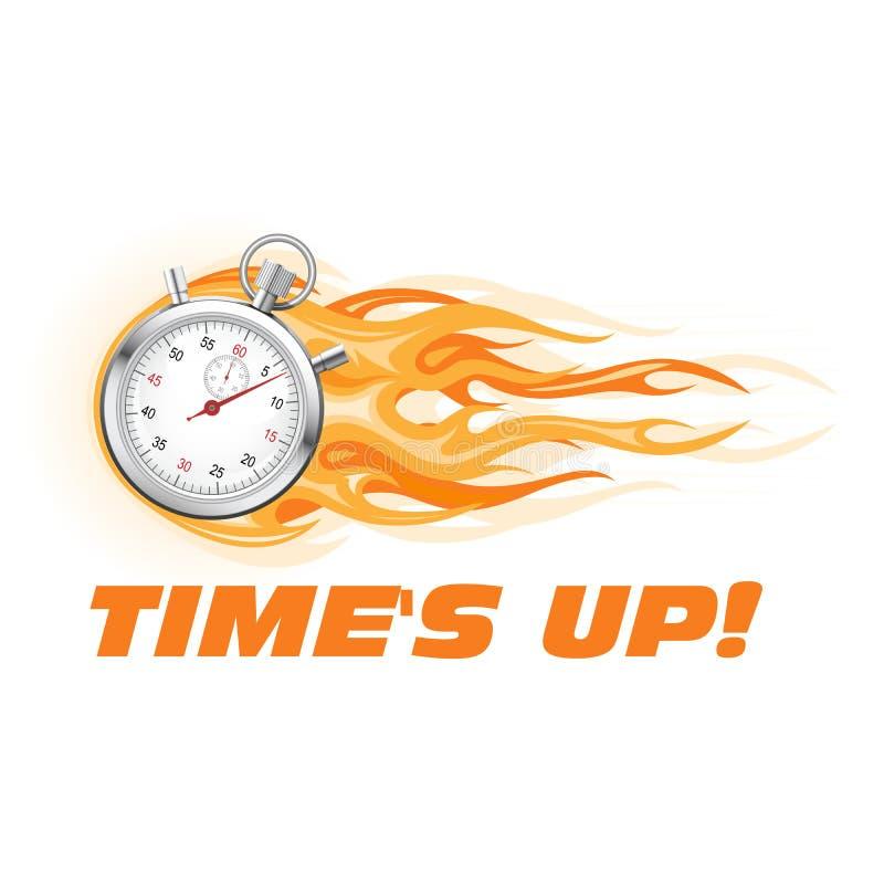 Zeiten oben, beeilen sich oben - brennende Stoppuhrikone stock abbildung