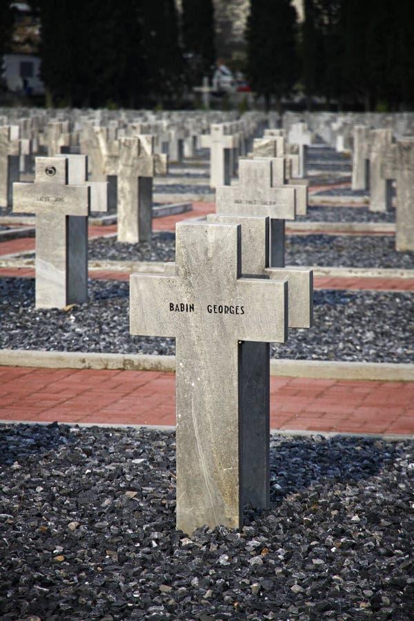 Zeitenlik, den minnes- förbundna militära kyrkogården och WWI parkerar in arkivbild