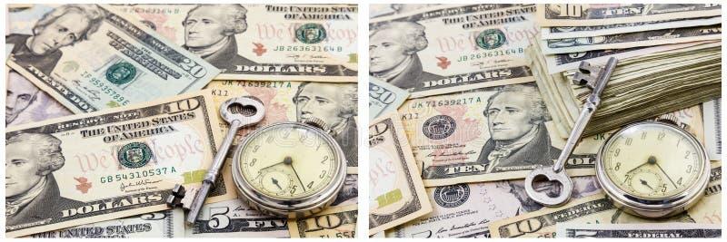 Zeitgeld-Konzeptcollage der finanziellen Sicherheit stockbilder