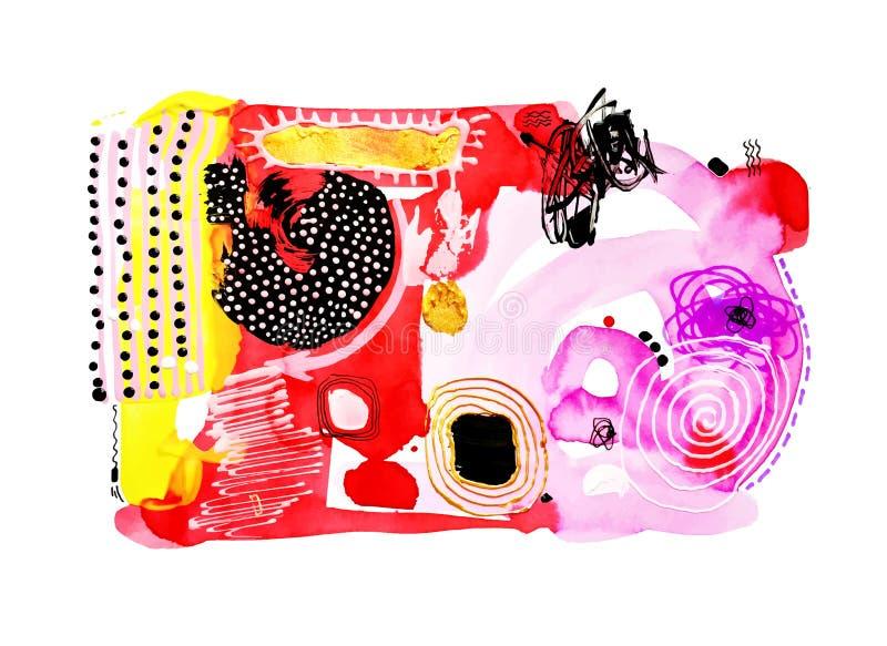 Zeitgenössische Aquarell-Malereizusammensetzung der abstrakten Kunst vektor abbildung