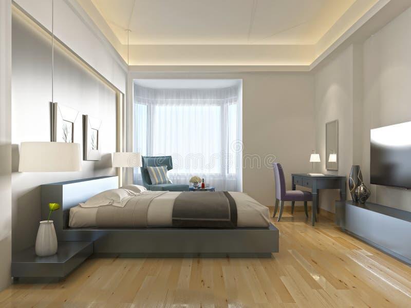 Zeitgenössische Art des modernen Hotelzimmers mit Elementen von Art Deco lizenzfreie abbildung