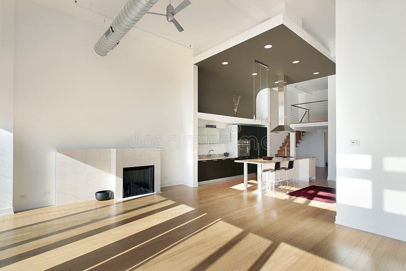 Zeitgenössische Küche in der Eigentumswohnung stockfotografie