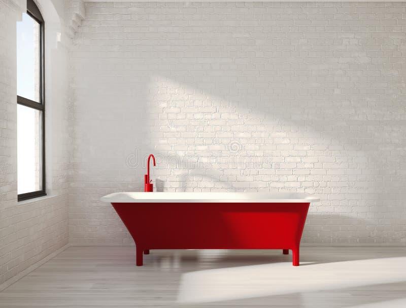 Zeitgenössische rote Badewanne in einem weißen Innenraum lizenzfreie stockbilder