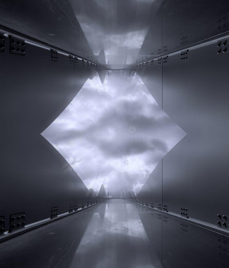 Zeitgenössische Schwarzweiss-Reflexion der gerundeten Architektur lizenzfreie stockfotografie