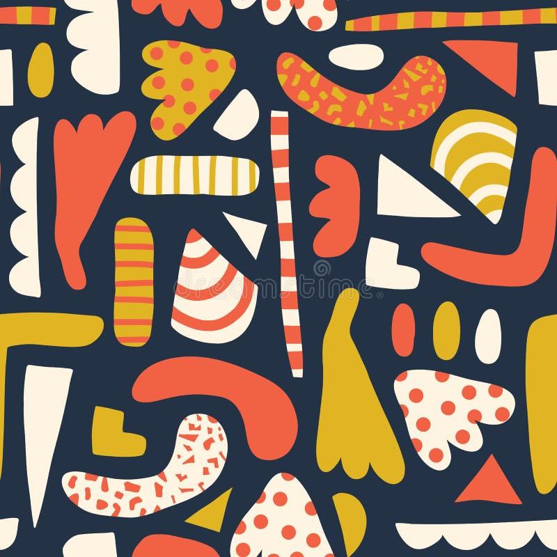 Zeitgenössische Zusammenfassung formt nahtloses Vektormuster Einfache Elemente korallenrot, Gold gelb, weißer blauer Hintergrund stock abbildung