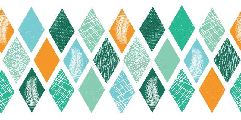 Zeitgenössischer abstrakter Entwurf für Männer Raute formt die nahtlose Grenze Collagenart-Vektormuster Modernes tropisches vektor abbildung