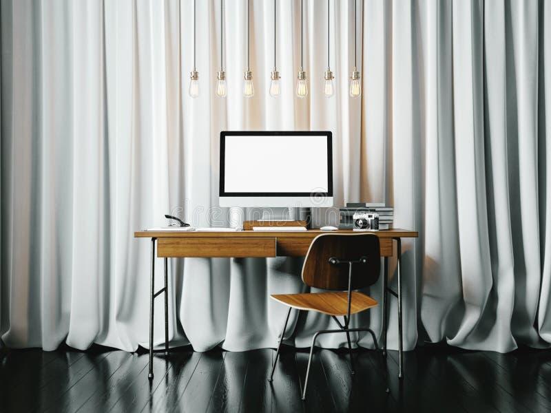 Zeitgenössischer Büroinnenraum Arbeitsplatz im Dachboden mit generischem Designcomputer horizontal 3d übertragen stockbilder