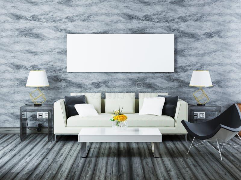 Zeitgenössischer Innenraum des Modellplakats Modernes weißes Sofa mit einem ch vektor abbildung