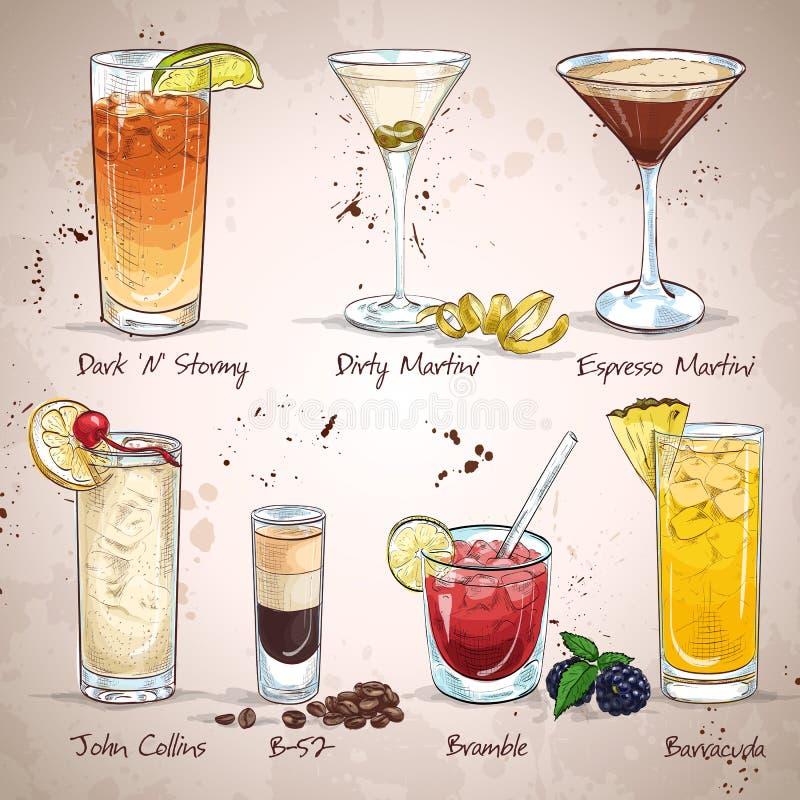 Zeitgenössischer Klassiker-Cocktail-Satz lizenzfreie abbildung