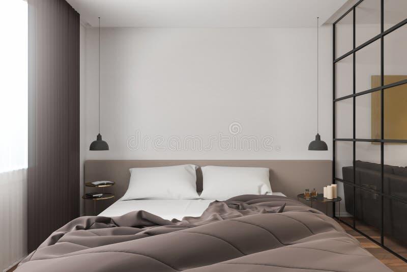 Zeitgenössischer Schlafzimmerinnenraum mit copyspace stock abbildung