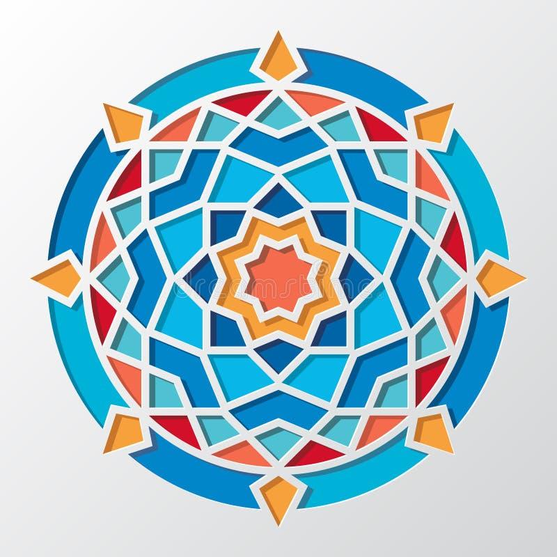 Zeitgenössisches arabisches geometrisches rundes Vektormuster für Tapete lizenzfreie abbildung