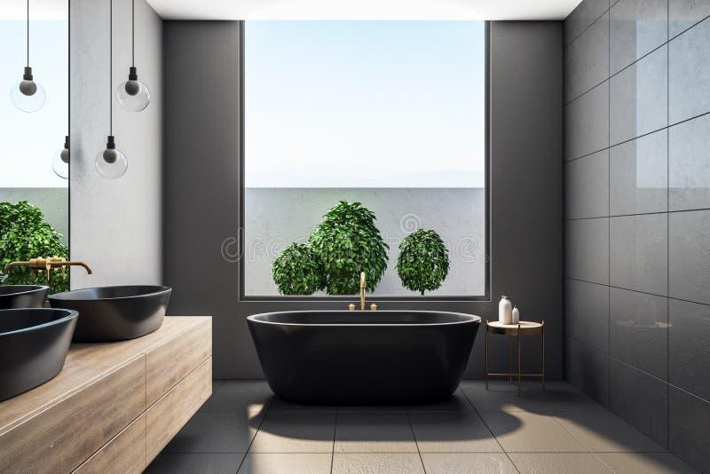Zeitgenössisches Badezimmer Innen mit Anlagen vektor abbildung