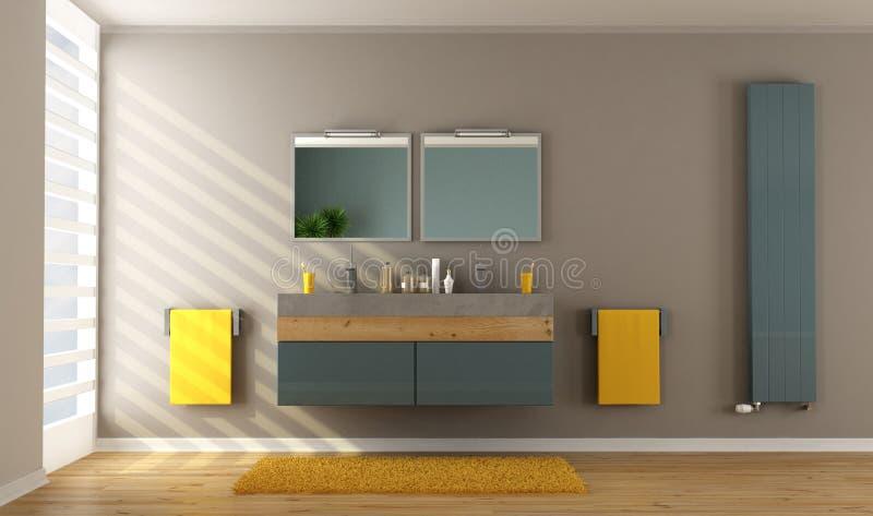 Zeitgenössisches Badezimmer mit konkretem Waschbecken lizenzfreie abbildung