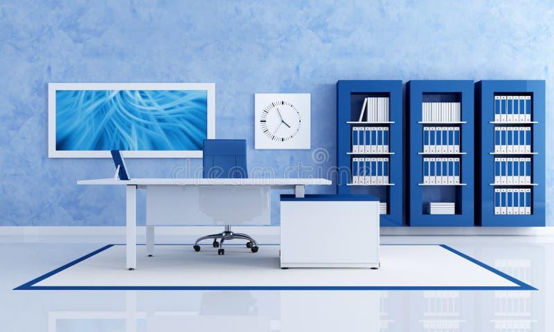 Zeitgenössisches blaues Büro lizenzfreie abbildung