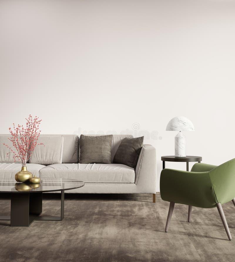 Zeitgenössisches graues Wohnzimmer mit grünem Lehnsessel stockfotografie