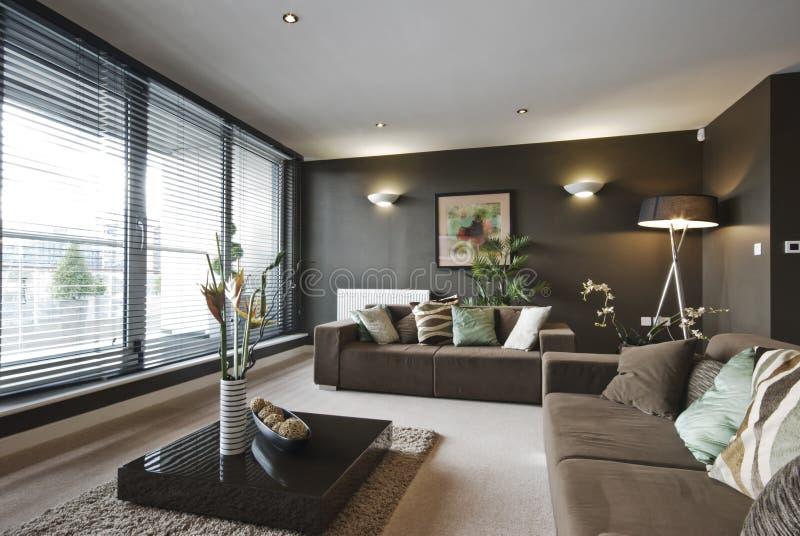 Zeitgenössisches Luxuxwohnzimmer lizenzfreies stockfoto
