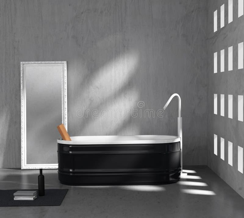 Zeitgenössisches minimales graues konkretes Badezimmer lizenzfreie abbildung