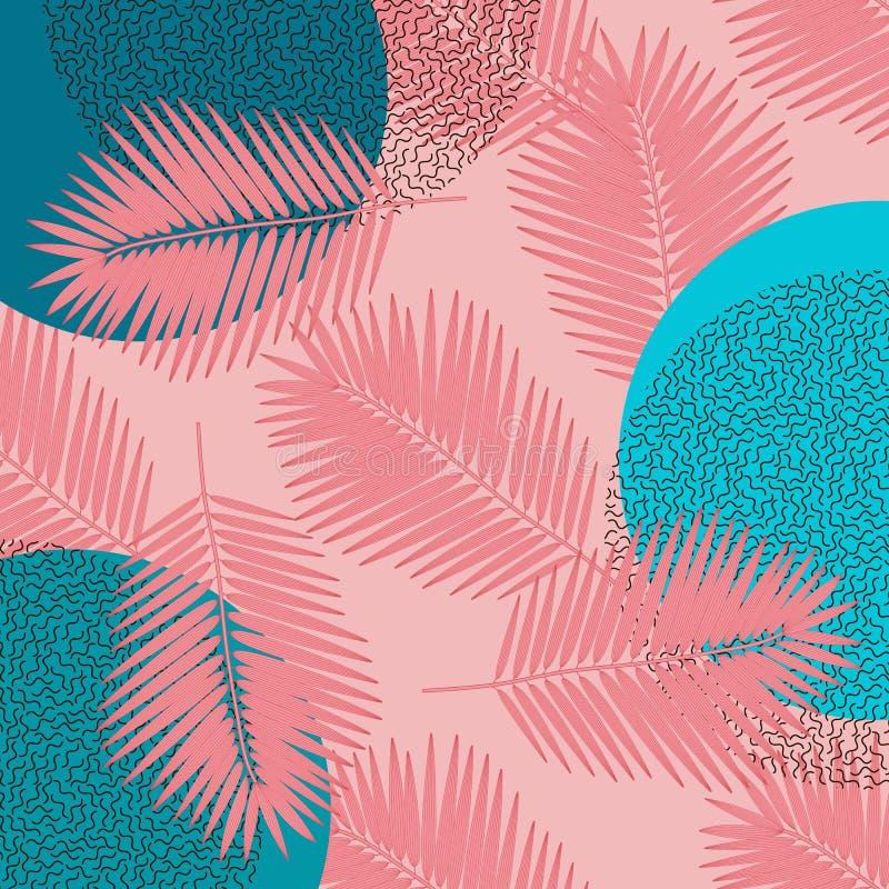 Zeitgen?ssisches Muster mit bunter tropischer Palme Memphis auf korallenrotem rosa Hintergrund Tropisches Plakat des Strandfests  lizenzfreie abbildung