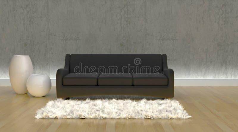 Zeitgenössisches Sofa moderen innen Einstellung lizenzfreie abbildung