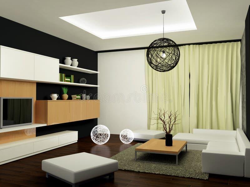 Zeitgenössisches Wohnzimmer stock abbildung