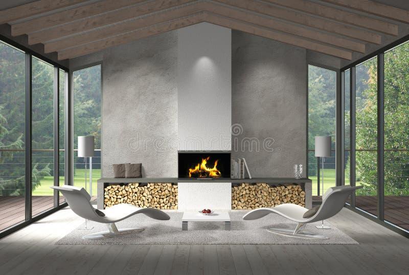 Download Zeitgenössisches Wohnzimmer Mit Glasfront Und Garten Stock  Abbildung   Illustration Von Teppich, Französisch: