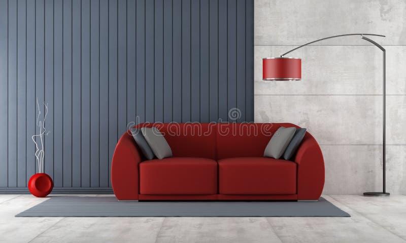 Zeitgenössisches Wohnzimmer mit roter Couch lizenzfreie abbildung