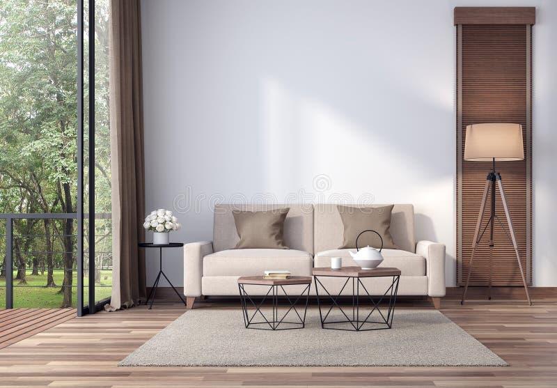 Zeitgenössisches Wohnzimmer mit tropischer Gartenansicht 3d übertragen vektor abbildung
