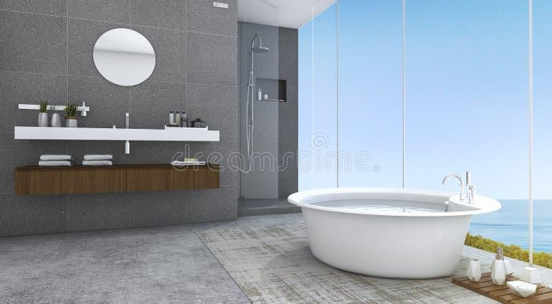 Zeitgenosse und Dachboden der Wiedergabe 3d reden Badezimmer mit netter Seeansicht an vektor abbildung