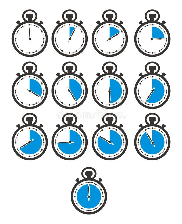 Zeitikone stellt - Stoppuhr, blaue Farbe ein vektor abbildung