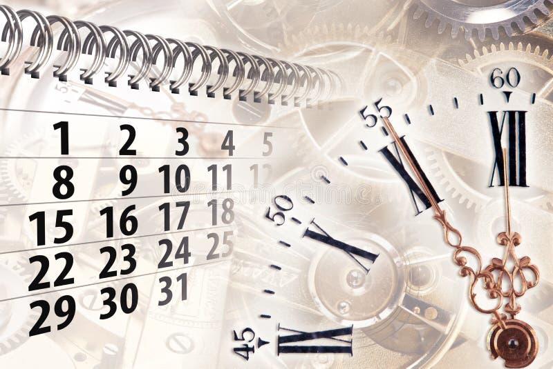 Zeitkonzept mit Uhr und Kalender stockbilder