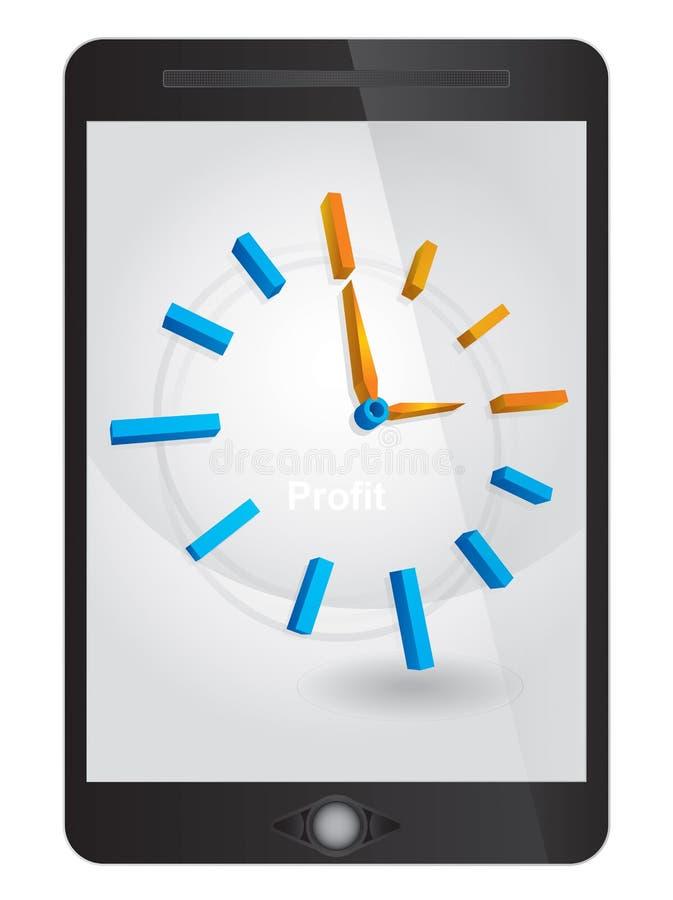 Zeitkonzept, Uhr auf Tablette stock abbildung
