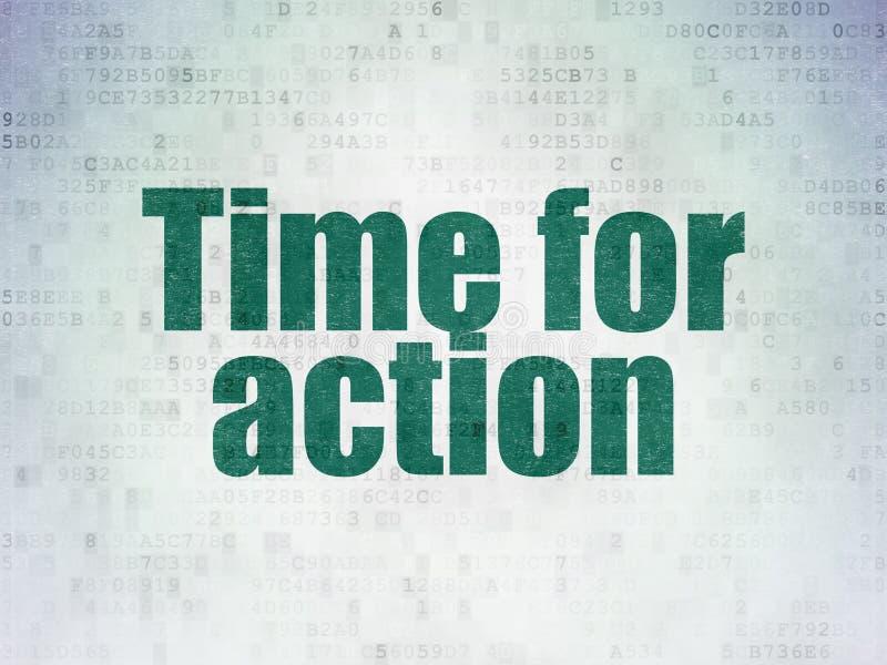 Zeitkonzept: Zeit für Aktion auf Digital-Daten tapezieren Hintergrund lizenzfreie abbildung