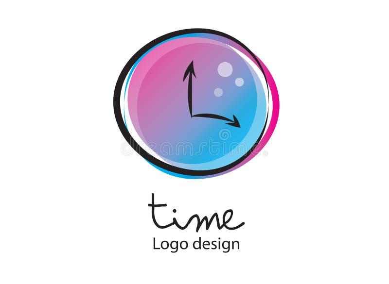 Zeitlogo Warnung, Uhrikone, Vektorillustration Flacher Entwurf, Netzikone lizenzfreie abbildung