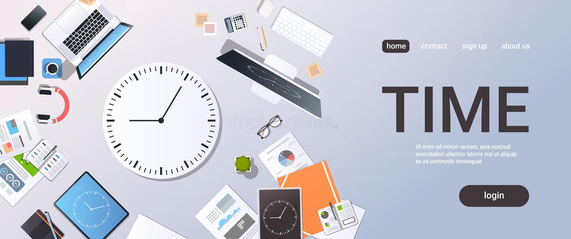 Zeitmanagement-Fristengeschäfts-TIMING-Konzeptspitzenwinkelsichttischplattenlaptop Smartphonetablettenschirm-Uhrpapier vektor abbildung
