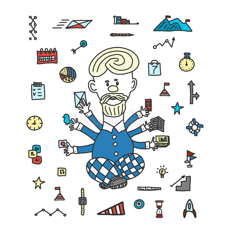 Zeitmanagement-Gesch?ftsmannger?t-Gesch?ftskonzept Karikaturart eigenhändig gezeichnet Ein Mann jongliert viele Handgeräte stock abbildung