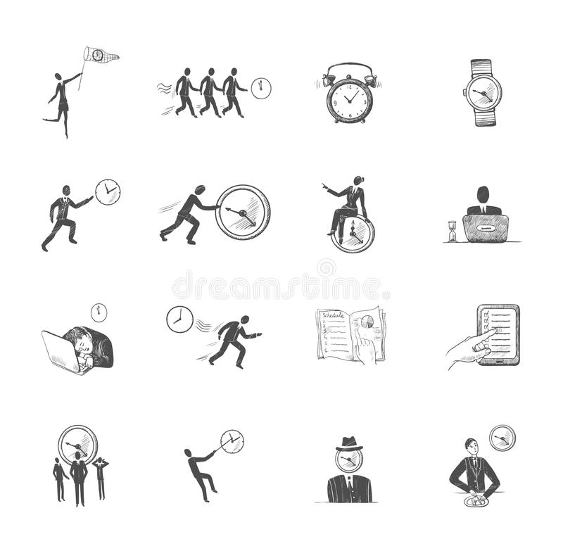 Zeitmanagement-Ikonenskizze lizenzfreie abbildung