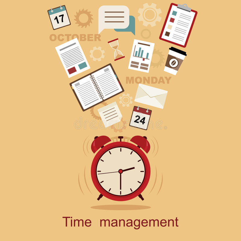Zeitmanagement-Konzeptplanung, Organisation, Arbeitszeit stock abbildung