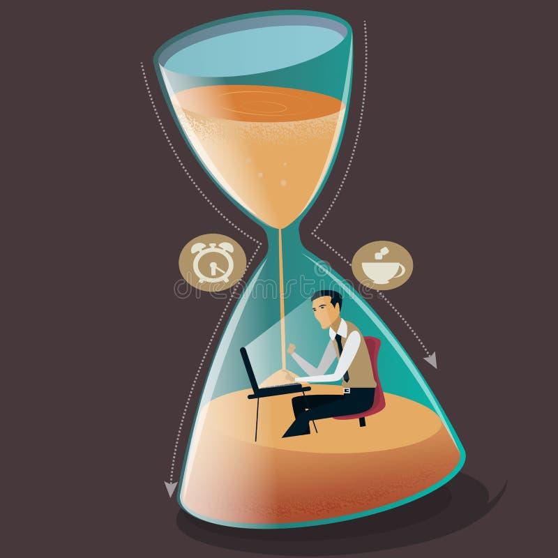 Zeitmanagement-Konzeptvektorillustration Geschäftsmann sinkt in Sanduhr Projekttermin lizenzfreie abbildung