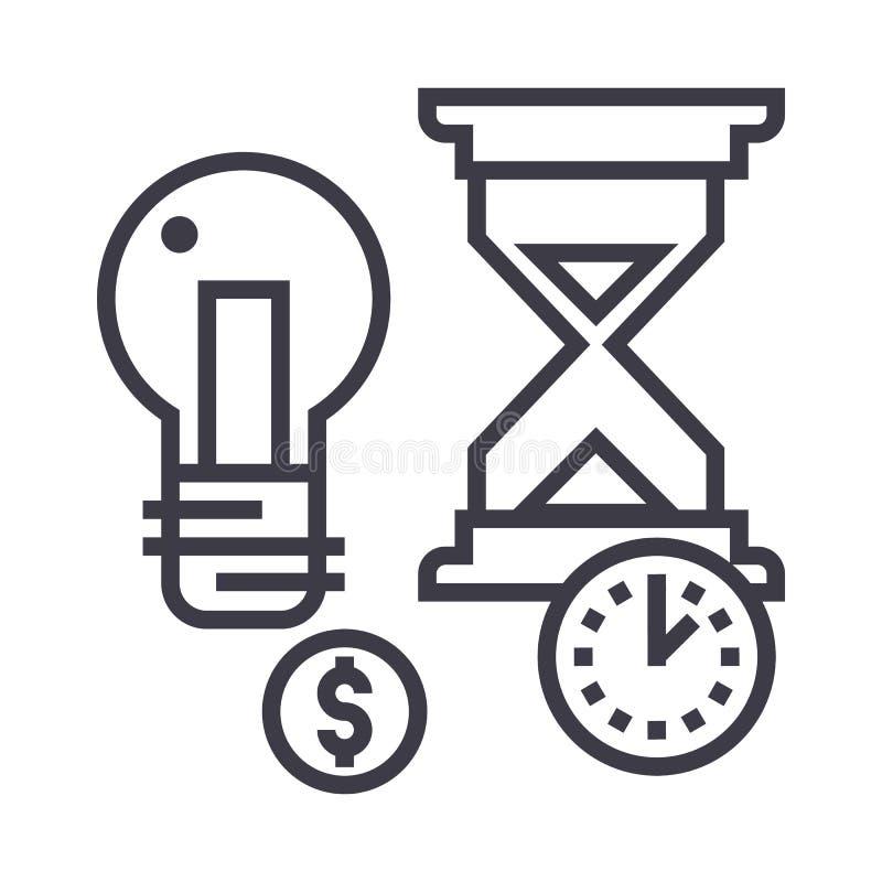 Zeitmanagement, Sanduhr, Münze, Timer-Vektorlinie Ikone, Zeichen, Illustration auf Hintergrund, editable Anschläge lizenzfreie abbildung