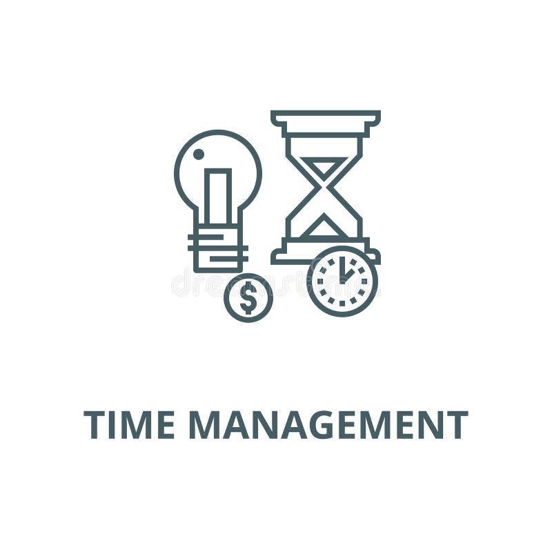 Zeitmanagement, Sanduhrvektorlinie Ikone, lineares Konzept, Entwurfszeichen, Symbol stock abbildung
