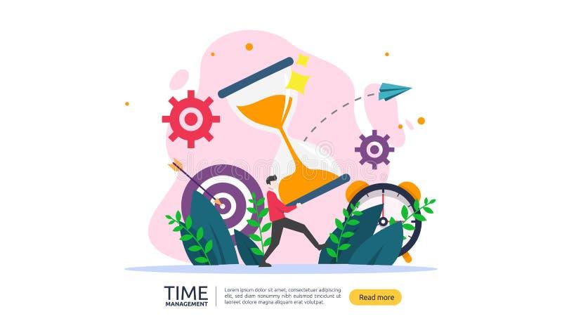Zeitmanagement und Aufschubkonzept Planung und Strategie f?r Gesch?ftsl?sungen mit Uhr, Kalender und kleinen Leuten lizenzfreie abbildung