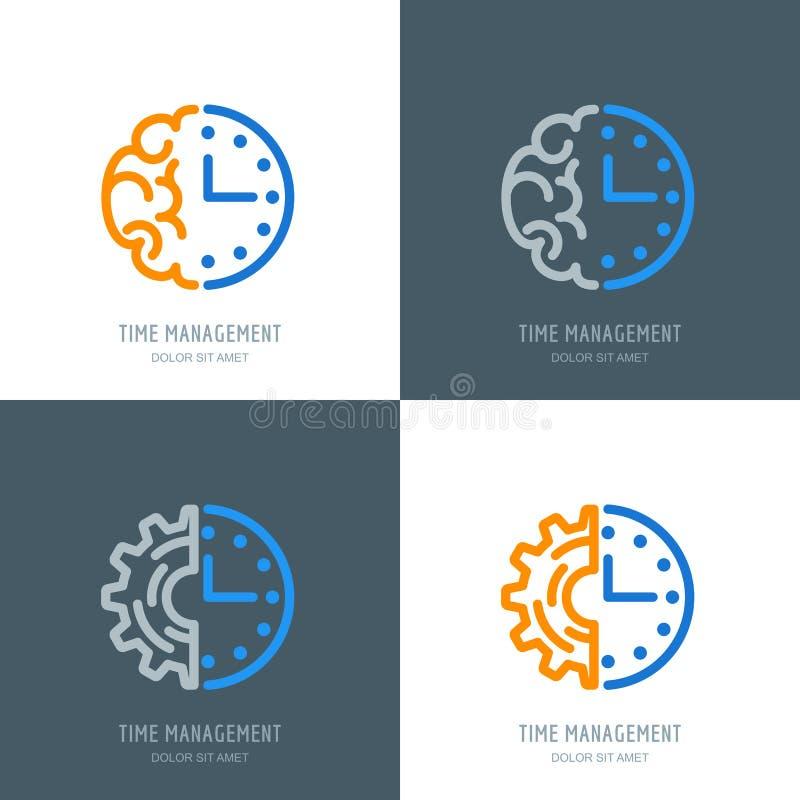 Zeitmanagement und Planungsgeschäftskonzept Vektorlogo oder -ikonen eingestellt lizenzfreie abbildung