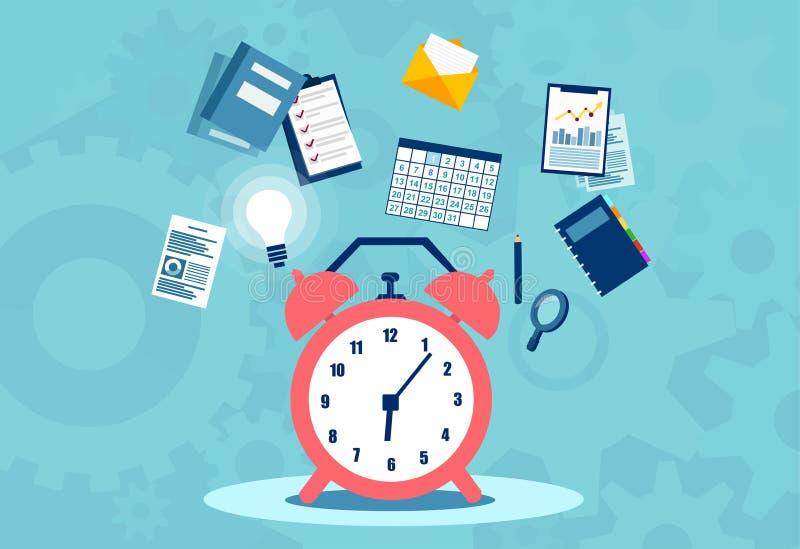 Zeitmanagementplanung, Organisation und Arbeitsüberstundenkonzept vektor abbildung