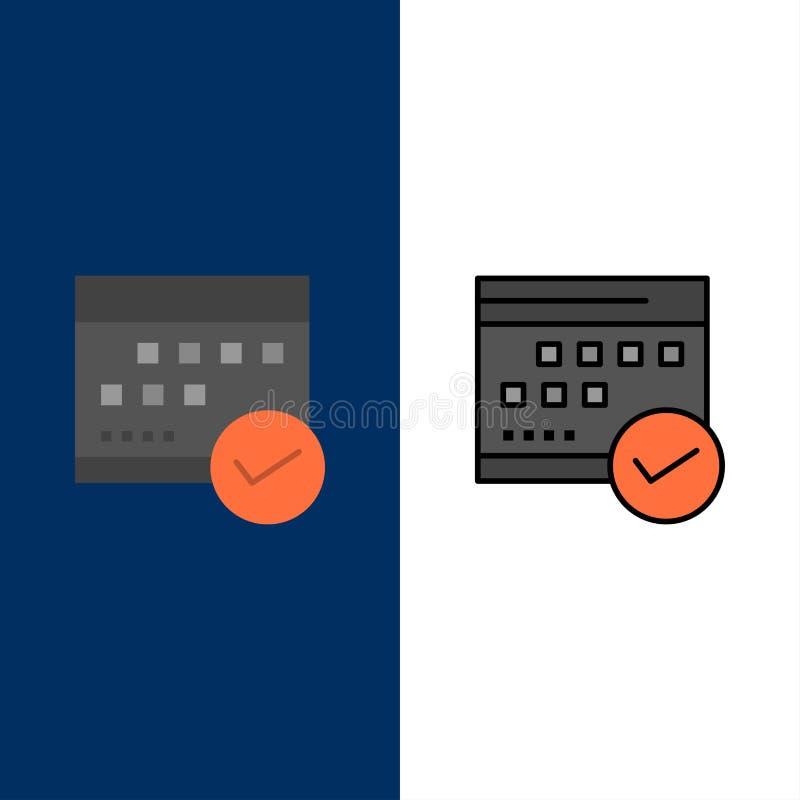 Zeitplan, anerkannt, Geschäft, Kalender, Ereignis, Plan, Planungsikonen Ebene und Linie gefüllte Ikone stellten Vektor-blauen Hin lizenzfreie abbildung