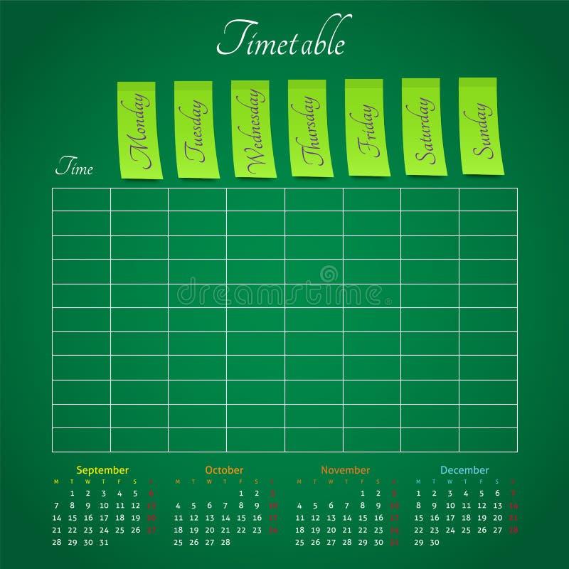 Zeitplan Auf Der Grünen Tafel Für Irgendeine Planung Stock Abbildung ...